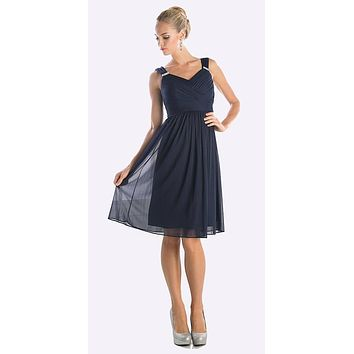 CLEARANCE - Knee Length Navy Blue Beach Wedding Bridesmaid Dress Flowy Chiffon (Size 3XL)