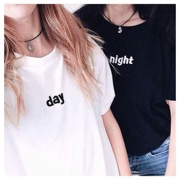 Black White Day Night Matching Shirts Couples T-Shirt Women Tumblr Fashion Graphic Tee Cute Bestfriend tops clothes