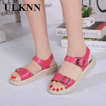 ULKNN Summer Shoes comfortable sandals slip-resistant Genuine leather women sandals cowhide casual shoes flat sandals Soft Lady