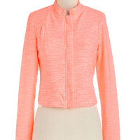 ModCloth Neon Short Long Sleeve Bright and Left Jacket