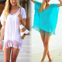 Hot Bikini Beach Swimsuit Cover up  Bathing Suit cover-up Beach Wear Swimwear women's Swimming Suit Tassel Pareo Sexy Mini Dress