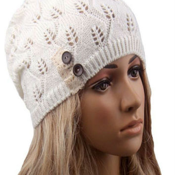 White Buttons And Lace Hollow Out Knitted Beanie