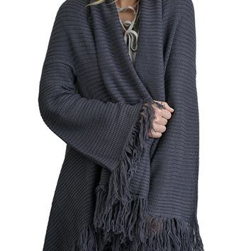 Umgee Women's Open Front Cardigan Sweater with Fringe and Asymmetric Hem