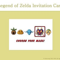 Legend of Zelda Choose Your Mask Invitation Card - Printable Card, Greeting Cards, Birthday Card - Instant Download
