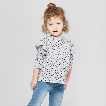 Toddler Girls' Ruffle Long Sleeve T-Shirt - Cat & Jack™ Heather Gray/Dots