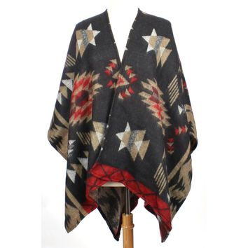 Womens Aztec Tribal Fall Poncho