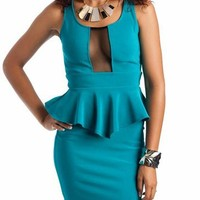 mesh inset peplum dress $34.00 in BLACK TEAL - Nightclub | GoJane.com