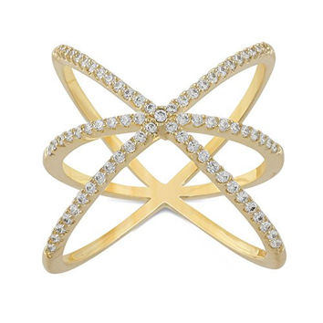 JanKuo Jewelry Gold Plated Cubic Zirconia Triple Criss Cross X Wrap Ring (8)