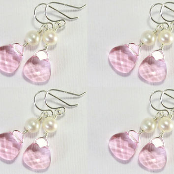 SET OF 4 - Swarovski Earrings with Pearls on Sterling Silver - Light Rose Crystals, Pink - Bridesmaid Gift Set