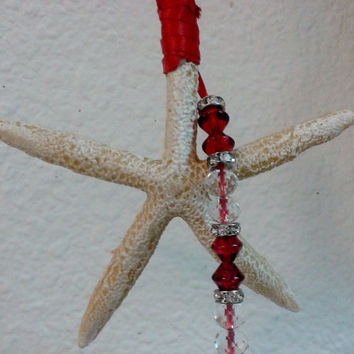 Starfish Ornament, Christmas Starfish, Nautical Christmas Ornament, Beach Ornament, Coast Cottage Chic Ornament
