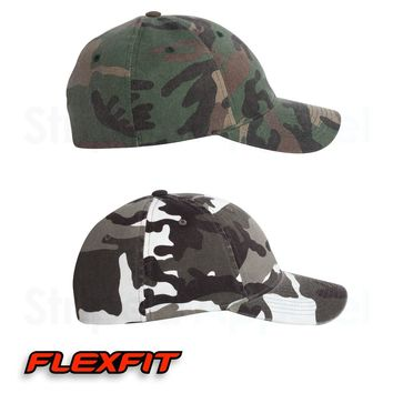 FLEXFIT Woodland Camo Hat 6977CA Fitted Camouflage Bow Hunting Cap NEW