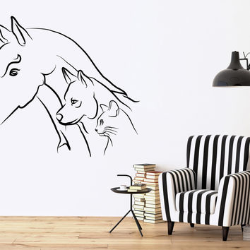 Vinyl Decal Animal Wall Sticker Horse Dog Cat House Pets Farm Decor Kids Room Nursery (ig2402)