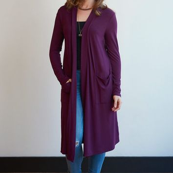 Slouchy Knee Length Pocket Cardigan - 7 Colors!