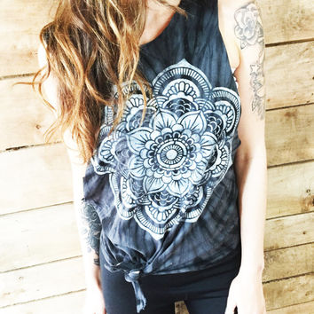 Mandala Muscle Tee Women's Clothing Tie Dye Tank Top Black Tee Coachella Tibetan Mandala Shirt Tumblr