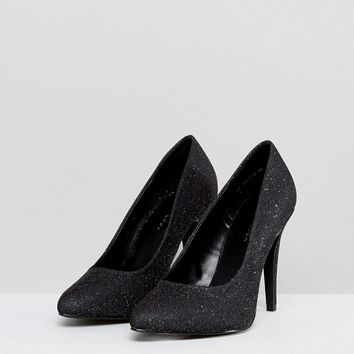 New Look Glitter Cone Heel Court Shoe at asos.com
