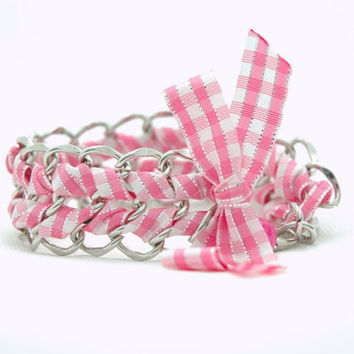 Pink Ribbon Braided Silver Chain Bracelet by Myvera on Etsy