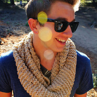 Knitted Tube Scarf in Sand by KaylaKozy on Etsy