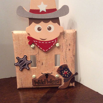 Cowboy Double Light Switch Cover, Cowboy Switchplate, Cowboy Nursery Decor