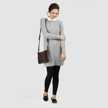 Scallop Collar Cable Knit Tunic Jumper