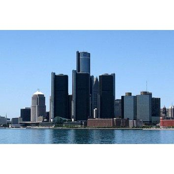 Detroit Skyline Poster 11 inch x 17 inch poster