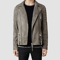 Mens Murphy Leather Biker Jacket (Cement) | ALLSAINTS.com