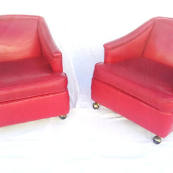 Vintage 1960's Lipstick Red Vinyl Club Chairs - A Pair- Mid Century