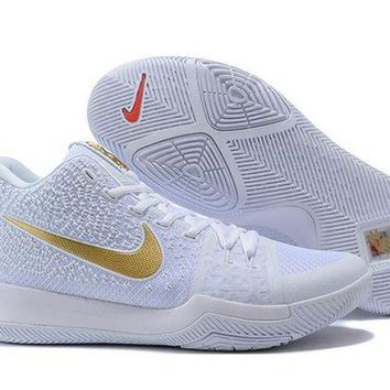 PEAP Nike Kyrie Irving 3 White/Gold Sport Shoes US7-12