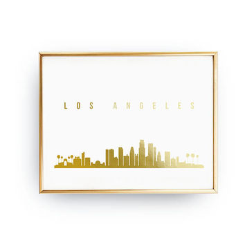 Los Angeles Skyline, Gold Skyline Art, Los Angeles Cityscape, Los Angeles Print, Real Gold Foil Print, Home Decor, California, USA Print,USA