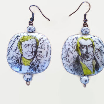 Retro Old Dictionary Paper Earrings Oval Decoupage OOAK Earrings Eco Friendly Ready to Ship / Ρετρό Σκουλαρίκια από Σελίδες Παλιού Λεξικού