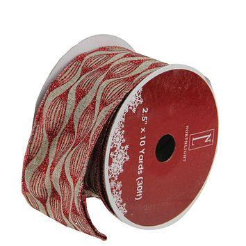 "Pack of 12 White and Black Playful Reindeer Wired Christmas Craft Ribbon Spools 2.5"" x 120 Yards Total"