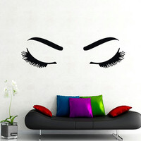 Wall Decals Woman Girl Eyes Joy Fashion Vinyl Decal Sticker Home Interior Design Art Mural Living Room Bedroom Beauty Salon Decor MN475