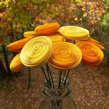 12 Mini Yellow Paper Flowers - Handmade Paper Flowers for Brides, Weddings, Showers, Birthdays
