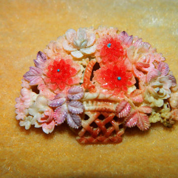 Vintage 1940's Celluloid, Floral Brooch, Flowers in a Basket, Mothers Day Flower Basket, Roses,  Spring Time Flowers