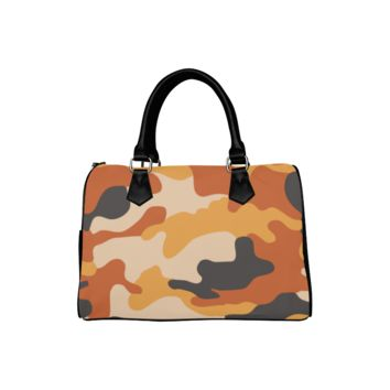 Personalized Women Bag Brown And Orange Camouflage Boston Top Handbag