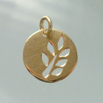 24K Gold Vermeil over 925 Sterling Silver Cut Out Leaf Branch Round Pendant, 12mm - PC-0069