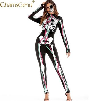 Free Shipping Jumpsuits Halloween Cosplay Costume Skeleton Human Body Print Jumpsuit Women Skinny Bodysuit Rompers 80814