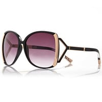 River Island Womens Black oversized square sunglasses