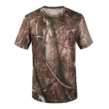 New Outdoor Hunting T-shirt Men Breathable Army Tactical Combat T Shirt Military Dry Sport Camo Camp Tees-Tree camouflage