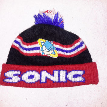 Vintage Sonic the HedgeHog Logo 7 Beanie hat cap OG 1995 Sega winter ski Sz Small