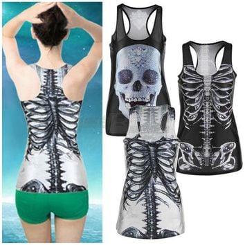 LMFUNT 1pcs 3D Summer Sexy Womens vintage Printed Skeleton Skull Tank Tops Gothic Punk Clubwear Punk T-Shirt