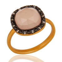 Rose Chalcedony Faceted Gemstone Ring in 18kt Gold Vermeil Over Sterling Silver