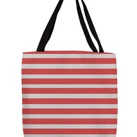 Thumbprintz Shopping Tote, 16-Inch, Bright Stripes Red