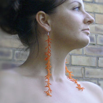 Extra Long Earrings. Long Orange Earrings. Shoulder Dusters. Beadwork