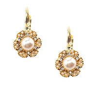 kate spade new york Leverback Drop Earrings - Cream/Clear/Gold