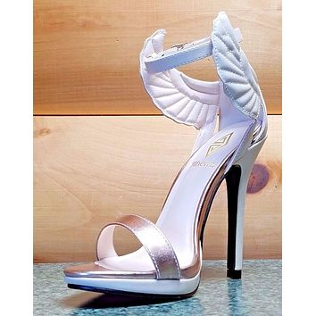 Fly Girl Wing Closed Back Ankle Strap Sandal Shoe Beige Rose Gold Size 10