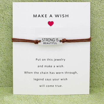 Strong is Beautiful My Best Friend Forever Hope Faith Charm Card Bracelets Wax Cords Women Men Girl Jewelry Christmas Gift