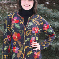 Morning Glory Floral Alpaca Cardigan