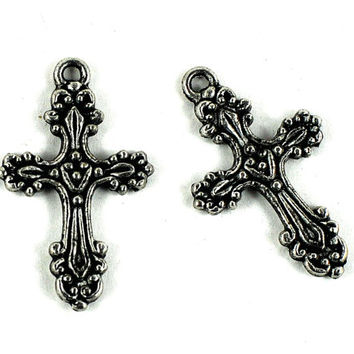Metal Crucifix Charm - Antique Silver Ornate Victorian Style - 30 x 18mm - Christian Jewelry - Easter Cross - Jewellery and Craft Supplies