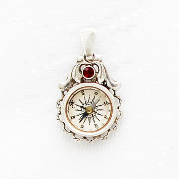 1920s German Compass Charm with Ruby Red Stone