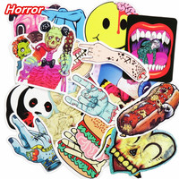 Mixed 50 Pcs Horror Nausea Bloody Stickers for Graffiti Bike Laptop Fridge Skateboard Funny DIY Sticker Car Styling JDM Decals